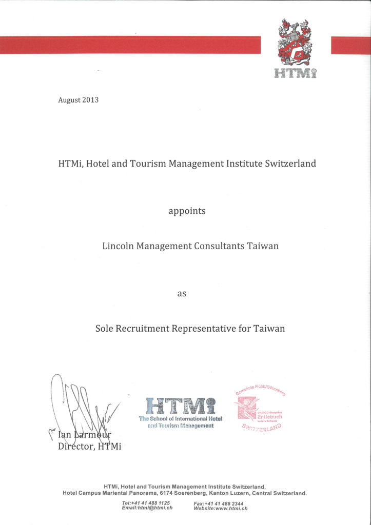 HTMI Taiwan sole Representative appintment Lincoln