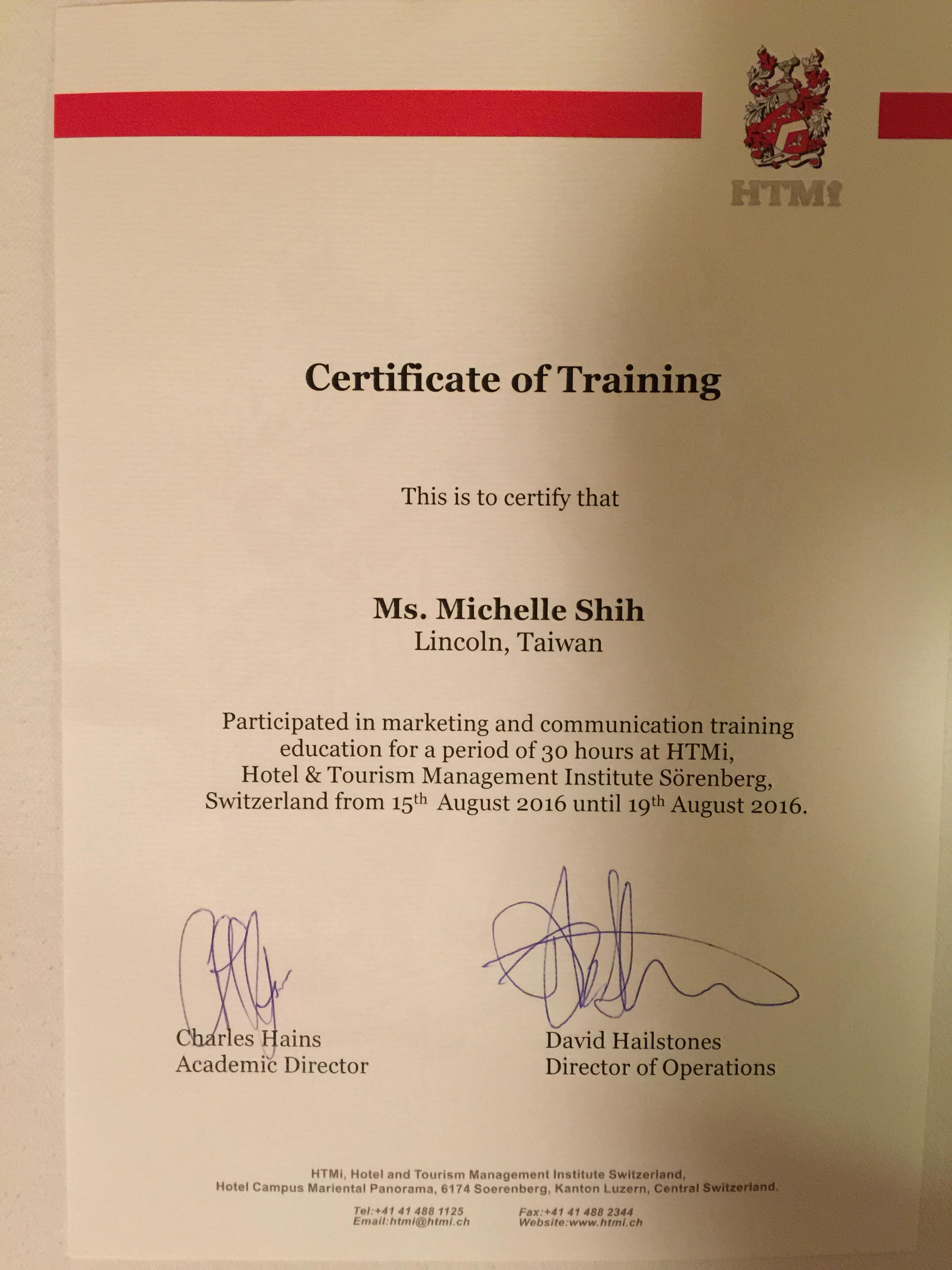 HTMi 授證Michelle Shih